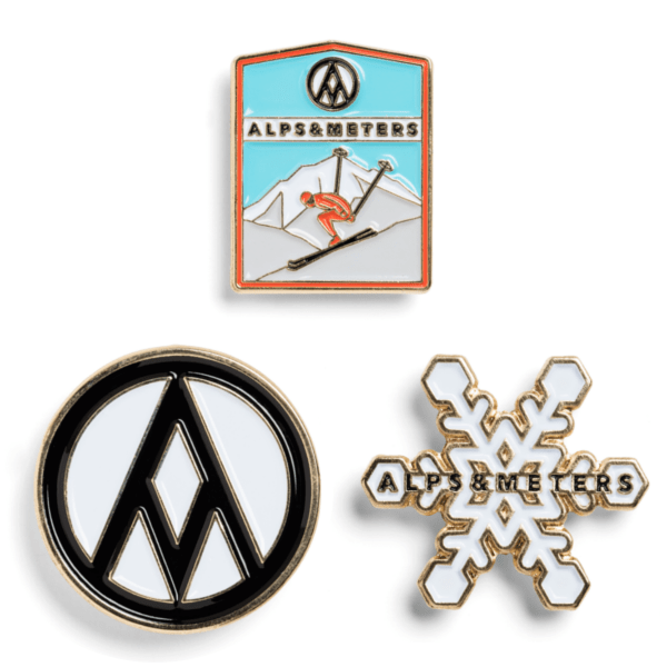 Enamel Ski Pins - Alps & Meters  - 1