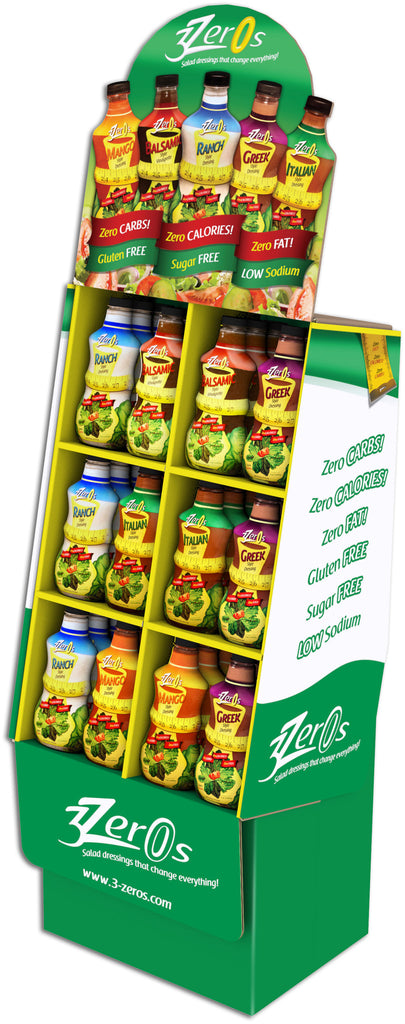 3 Zeros Shipper Display   36 Units - Assorted Flavors - FREE SHIPPING