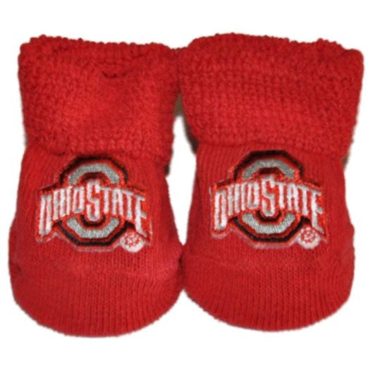 Ohio State White Baby Booties Boxed Gift Set Red - Posh Babies