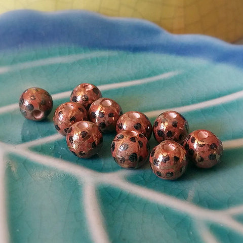 3C Studio Art Nouveau Bead Brown with Black Dots & Gold Lines 7mm Ball Shape
