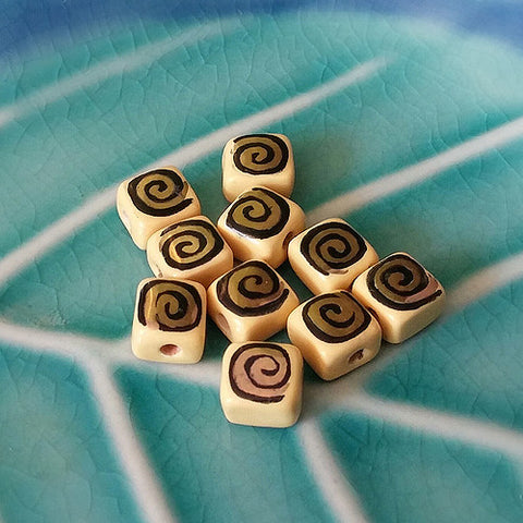 3C Studio Art Nouveau Bead Light Yellow with Gold/Black Swirl 7mm Flat Square Shape