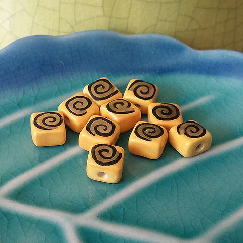 3C Studio Art Nouveau Bead Dark Yellow with Gold/Black Swirl 7mm Flat Square Shape