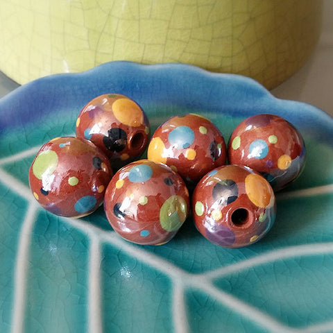 Terra Cotta Muti-Color Dot 18mm Ball Ceramic Beads