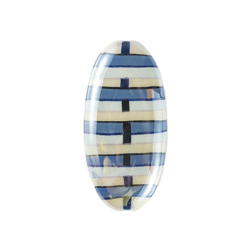3C Studio Modern Art Bead - Blue and White Lines