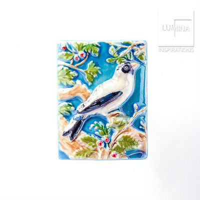 3C Studio Blue and White Bird Bead - Large