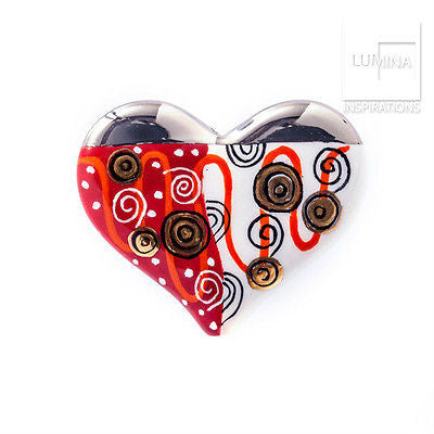 3C Studio Hand-Painted Porcelain Heart Bead - Swirl
