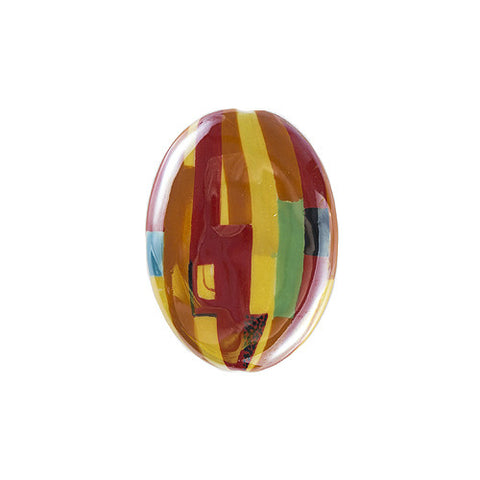 3C Studio Modern Art Bead - Orange and Red Abstract