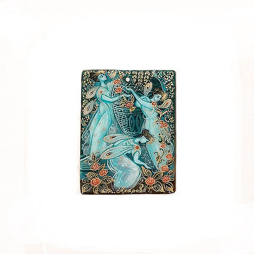 Russian Artist Hand-Painted Fairies Miniature Pendant