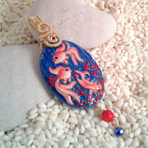 Wire-Wrapped Hand-Painted Porcelain Koi Fish Pendant