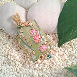 Wire-Wrapped Hand-Painted Porcelain Asian Spring Flower Bead and Pendant