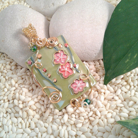 Wire-Wrapped Hand-Painted Porcelain Asian Spring Flower Pendant