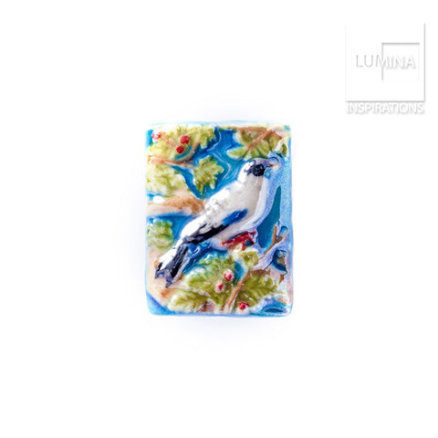 3C Studio Blue and White Bird Bead - Small