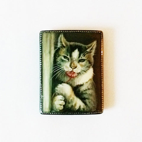 Russian Artist Hand-Painted Cat Miniature Bead