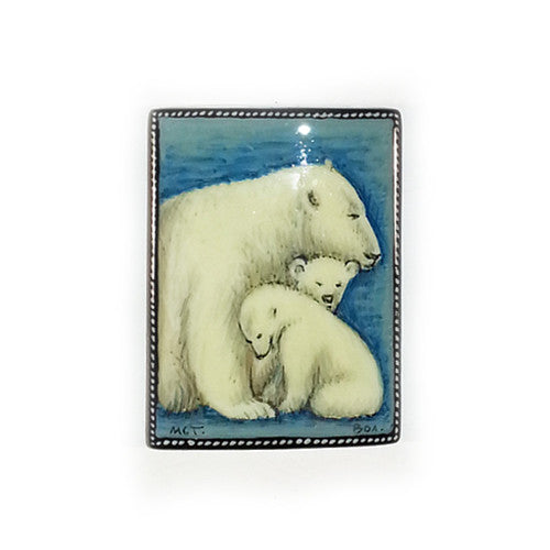 Russian Artist Hand-Painted Polar Bear Miniature Bead