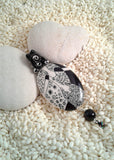 Wire-Wrapped Hand-Painted Porcelain Black and White Art Nouveau Pendant No. 3