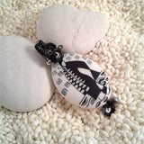 Wire-Wrapped Hand-Painted Porcelain Black and White Art Nouveau Pendant No. 5