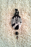 Wire-Wrapped Hand-Painted Porcelain Black and White Art Nouveau Pendant No. 7