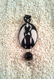 Wire-Wrapped Hand-Painted Porcelain Black and White Art Nouveau Pendant No. 6