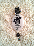 Wire-Wrapped Hand-Painted Porcelain Black and White Art Nouveau Pendant No. 9