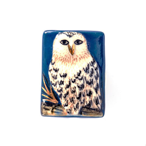 3C Studio Blue and White Owl Bead - Small