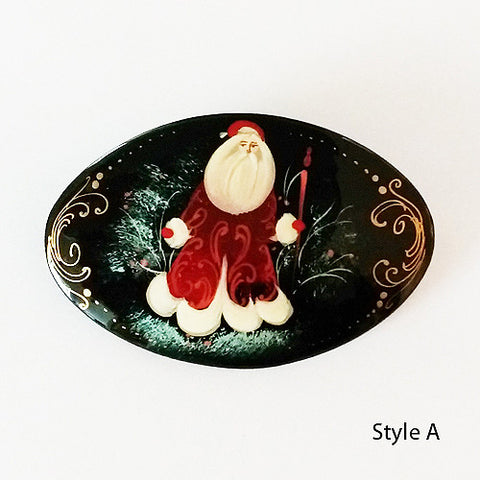 Russian Red Santa Paper Mache Pin - Oval
