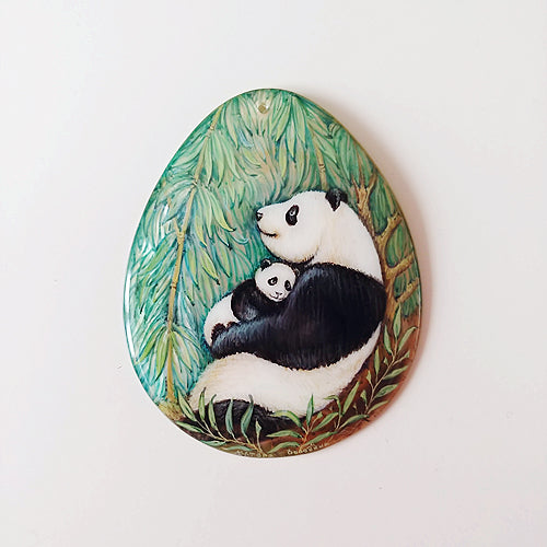Russian Artist Hand-Painted Miniature Mother of Pearl Pendant - Panda