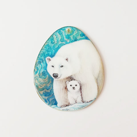 Russian Artist Hand-Painted Miniature Mother of Pearl Pendant - Polar Bear