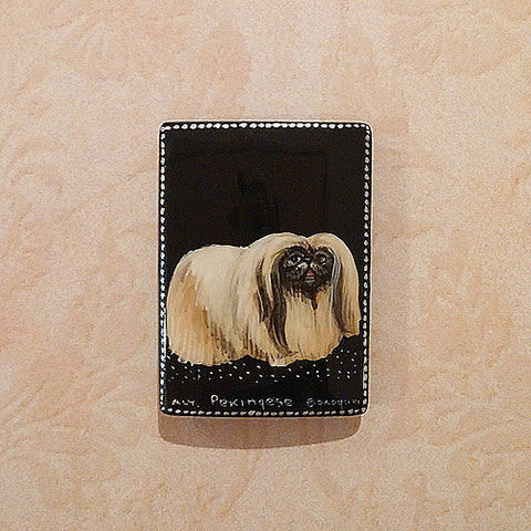 Russian Artist Hand-Painted Dog Miniature Bead - Pekingese