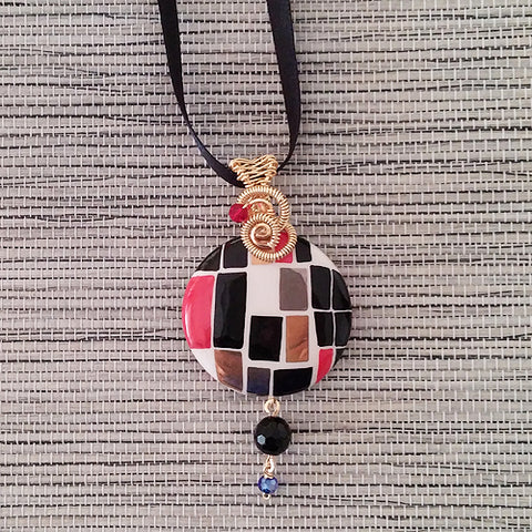Wire-Wrapped Hand-Painted Porcelain Black and Red Modern Art Pendant