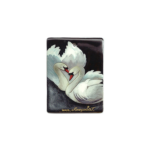 Russian Artist Hand-Painted Miniature Mother of Pearl Pendant - Swan
