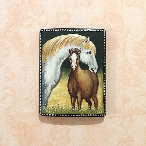 Russian Artist Hand-Painted Two Horses Miniature Bead