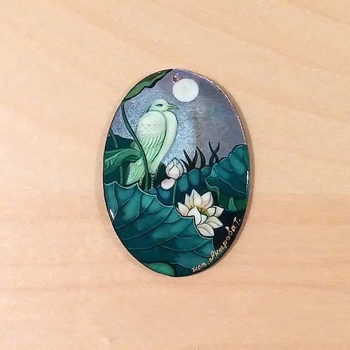 Russian Artist Hand-Painted Miniature Mother of Pearl Pendant - Bird and Waterlily