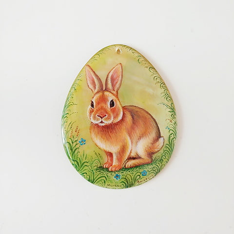 Russian Artist Hand-Painted Miniature Mother of Pearl Pendant - Rabbit