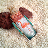 Wire-Wrapped Hand-Painted Porcelain Flamingo Pendant