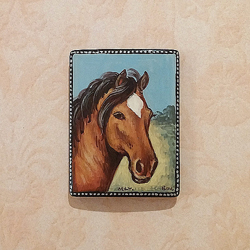 Russian Artist Hand-Painted Brown Horse Miniature Bead