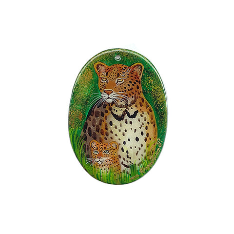 Russian Artist Hand-Painted Miniature Mother of Pearl Pendant - Leopard (Mother and Child)