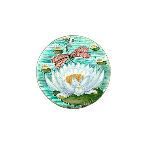 Russian Artist Hand-Painted Miniature Mother of Pearl Pendant - Water Lily and Dragonfly