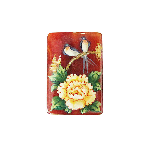 Russian Artist Hand-Painted Two Birds Miniature Bead