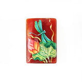 Russian Artist Hand-Painted Green Dragonfly Miniature Bead