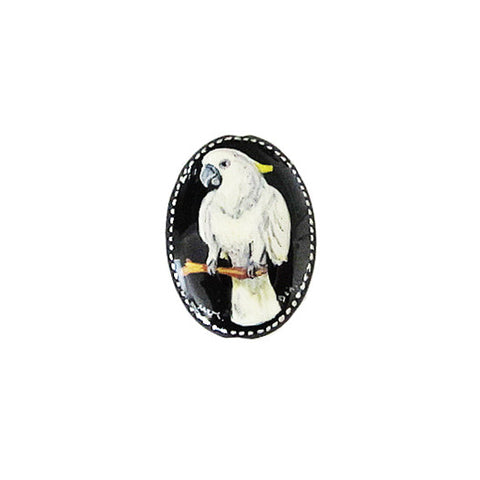 Russian Artist Hand-Painted Parrot Bead