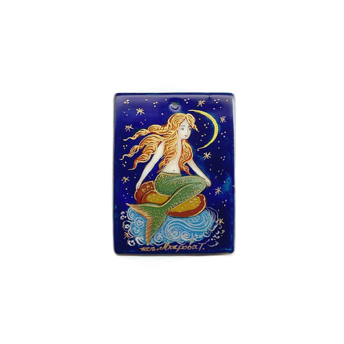 Russian Artist Hand-Painted Miniature Mother of Pearl Pendant - Mermaid