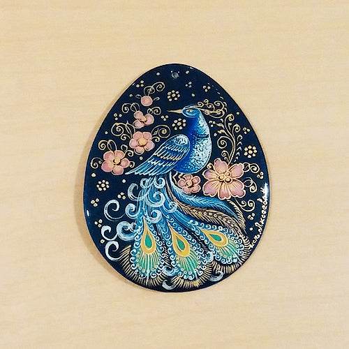Russian Artist Hand-Painted Miniature Mother of Pearl Pendant - Peacock