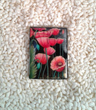 Russian Artist Hand-Painted Pink Poppy Flowers Miniature Bead
