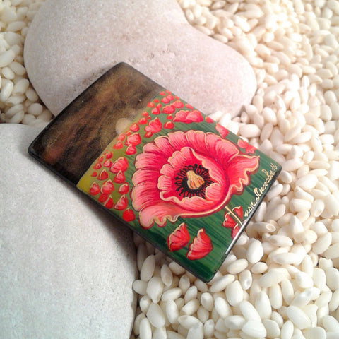 Russian Artist Hand-Painted Sunset and Poppy Flowers Miniature Bead