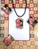 Wire-Wrapped Russian Artist Hand-Painted Poppy Flowers Pendant