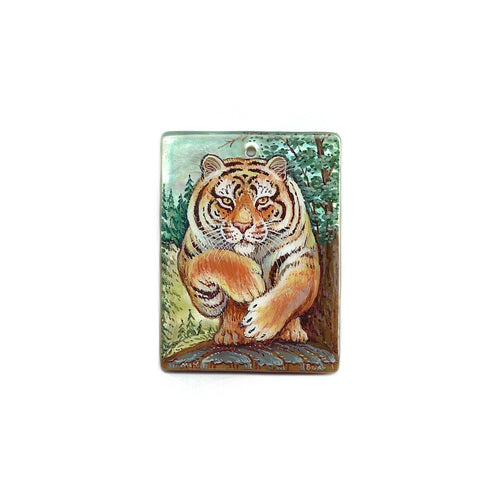 Russian Artist Hand-Painted Miniature Mother of Pearl Pendant - Tiger