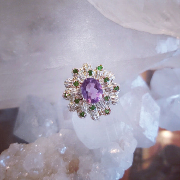 Amethyst & Green Garnet Ring