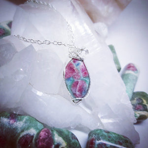 Goddess Pendant (Ruby and Fuchsite)