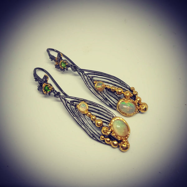 Opal And Chrome Diopside Earrings