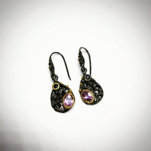 Amethyst & Garnet Earrings
